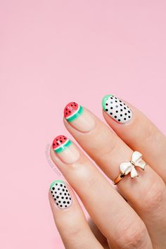 These watermelon nails are the cutest nail art to try for Spring.