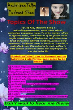 """This is my podcast show """"AndaStanTalks""""! I welcome you to follow it and discuss about all daily struggles, life, depression, anxiety, business, work, friendship, betrayal, self-help, self-control, music, TV series, movies, idols, writing, blogging, YouTube, and many other things that would be of interest for our daily lives! Join me and let's bond and have a friend-to-friend talk! :) <3"""