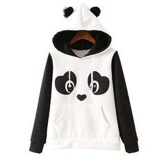 Jubileens Women's Cute Panda Print White and Black Fleece Hoodie Sweatshirts Tops Pullover Hoodie Sweatshirts, Printed Sweatshirts, White Hooded Sweatshirt, Fleece Hoodie, Bear Hoodie, White Hoodie, Hooded Sweater, Hooded Coats, Hooded Jacket