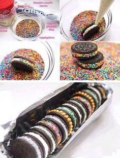 Oreos with different kinds of sprinkles