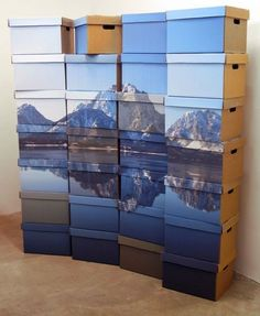 Brilliant Storage - tile out mural and adhere to side of boxes for out in the open storage.