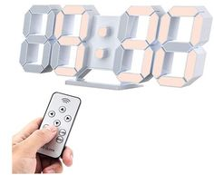 Led Wall Clock 9.7 Inch Alarm Clock 12/24 Hr Remote Control Temperature Nightlight Need to Plugged in - Not Include The Charger Best Wall Clocks, Led Wall Clock, Desk Clock, Alarm Clock, Digital Clocks, Digital Wall, Plugs, Pepperidge Farm Goldfish, Adjustable Desktop