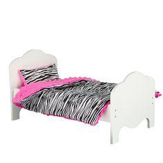 Olivia's Little World Little Princess Doll Bed & Zebra Bedding Set, Multicolor