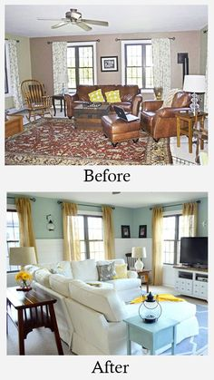 room makeover tips Small Living Room Makeovers Tips, Ideas and Before and Afters. Including, from four generations, one roof, this wonderful family room makeover. Room Makeover, Small Living Rooms, Living Room Makeovers Before And After, Home Remodeling, Small Living Room, House Interior, Interior Design, Family Room Makeover, Home And Living