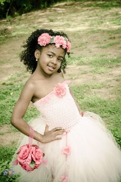 Flower Girl Dress with matching Halo/ Flower by AngelicallyKute, $45.00