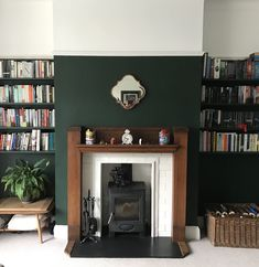 Latest version of our fireplace, room now painted dark green (Valspar paint in Dragon Song), with Aarow ecoburn stove. Dark Green Living Room, Dark Green Rooms, Green Dining Room Paint, Green Living Room Ideas, 1930s House Interior Living Rooms, 1930s Living Room, New Living Room, Living Room Color Schemes, Living Room Designs