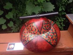 Gourd Art Lidded Pot Handcrafted Signed Kathe Stark New Mexico K-Star Creations
