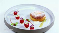 Tartelette amandine, framboises farcies à la vinaigrette de figues et émulsion de mascarpone et citron
