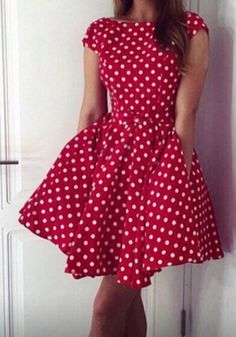 Red Polka Dot Pleated Round Neck Short Sleeve Mini Dress