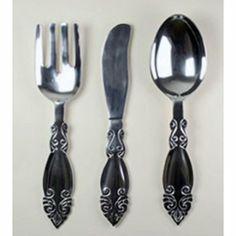 Aluminum Fork / Knife / Spoon Wall Sculpture Set