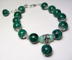 Malachite Gemstone Bracelet Green Malachite Bead Bracelet Malachite Bracelet Green Bracelet Green Stone Malachite Jewelry Boho bracelet by NataliaKh on Etsy