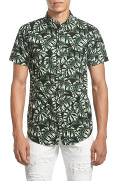 Free shipping and returns on GLOBE 'Monstera' Trim Fit Short Sleeve Print Poplin Shirt at Nordstrom.com. Leafy tropical fronds are printed on a slim-tailored short-sleeve shirt crafted from crisp, lightweight poplin-cotton and topped with a button-down collar for smartened style.