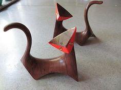 Pair of Mid Century Modern Retro Cat Figurines