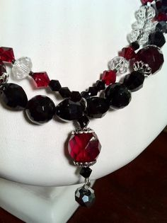 Botswana agate and vintage crystal double strand.