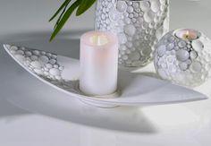 Casablanca ceramic deco bowl GAPS in white / silver. Casablanca, Decorative Bowls, Gap, Candle Holders, Candles, Ceramics, Silver, Design, Products