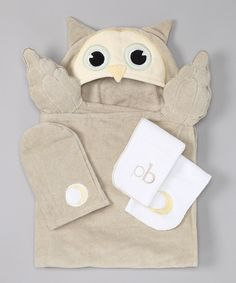 Look what I found on #zulily! Piccolo Bambino Gray Owl Hooded Towel Set by Piccolo Bambino #zulilyfinds