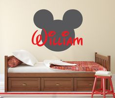 Custom Name Mickey Mouse Wall Decal Disney Cartoon Vinyl Sticker - Custom vinyl wall decals disney