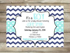 Baby Shower Invitation for Boy  Blue Chevron and by SophiasThings