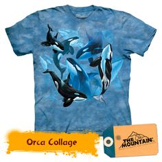 Orca Collage T-Shirt. Beautiful Orcas (Killer Whales) swimming beneath the ocean waves. The Mountain T Shirts are cotton Tees printed with environmentally friendly water based inks. Images can be ironed over without any problems. T Shirts Uk, Tee Shirts, Tees, Orcas, Beach Attire, Killer Whales, Sea And Ocean, Cool Outfits, Collage