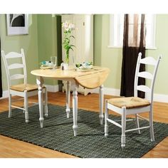 @Overstock - Add a small dining area to your room with this classic three-piece dining set. The set includes an attractive drop-leaf table and two ladderback chairs, providing you and a guest with plenty of room to eat breakfast, lunch, or dinner.http://www.overstock.com/Home-Garden/White-Wood-and-Rush-3-piece-Ladderback-Dining-Set/6037177/product.html?CID=214117 $274.99