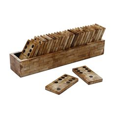 Be transported back to your childhood with this Averell domino set from Flamant. Crafted from varnished wood polished to a high sheen, this large domino set is presented in a matching storage box. Ideal as both a functional game or a decorative piece, this set will bring a touch of the traditional to any room.  http://www.zocko.com/z/JJXBn