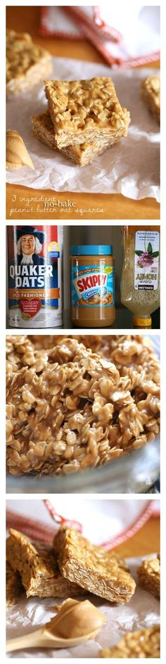 3 Ingredient No Bake Peanut Butter Oat Squares - 15 Super Healthy No-Bake Desser. 3 Ingredient No Bake Peanut Butter Oat Squares - 15 Super Healthy No-Bake Desserts Just Desserts, Delicious Desserts, Yummy Food, Tasty, No Bake Desserts, Baking Desserts, Baking Recipes, Easy Peanut Butter Desserts, No Bake Recipes