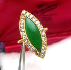 ESTATE 18K Y GOLD CERTIFIED NATURAL A JADE & EUROPEAN DIAMOND RING  $7750  #LGSOLITAIREWITHHALOOFDIAMONDS