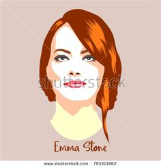 January 14, 2018: A vector illustration of a portrait of Emma Stone on the Golden Globe Awards.
