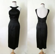 """Stunning 1950's Designer """"Peggy Hunt"""" Silk Satin Black Cocktail Party Dress w/ Cut in Sleeves and Plunging Back"""