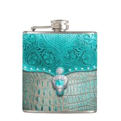 "Title : 100,, Southwest Style, Turq/Alligator Print Flask  Description : Patterns, Fabrics, Textiles, ""South-American-Inspired"", Aztec, Mayan, Inca, Cultural, Ethnic, ""Tribal-Prints"", Gifts"", ""Home-Décor"", Fashions, ""Custom-Designs"", ""Native-American-Indian"", Ikat, Kokopelli, Western, Southwest, Vibrant, ""Tribal-Art"", Symbolic, Iconic, Nationality, Exotic, Contemporary, Modern, Stylish, Trendy, ""Custom-Designs"", Traditional, ""Bold-Colorful-Fabrics"", ""Fun-Fabrics"", ""Southwest-Décor""…"