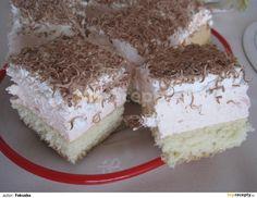 Žloutky vyšleháme s cukry do pěny.Pak postupně zašleháme horkou vodu. Vmícháme mouku a nakonec sníh z bílků.Nalijeme na vymazaný + vysypaný plech... Krispie Treats, Rice Krispies, Vanilla Cake, Tiramisu, Cake Recipes, Sweet Tooth, Food And Drink, Ethnic Recipes, Desserts