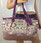 Nwt Coach Khaki Purple Signature Patent Leather tote Shoulder Bag Purse - http://clutches-handbags-shoes.com/2014/01/nwt-coach-khaki-purple-signature-patent-leather-tote-shoulder-bag-purse/