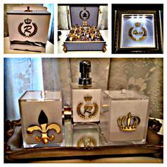 Porta Fraldas  Bandeja de resina com espelho  02 potes em acrílico  01 pote para alcool em gel  01 Caixa para Lembrancinhas ou documentos R$ 450,00