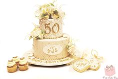 Vintage 50th Anniversary Cake by Pink Cake Box