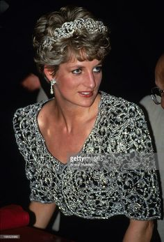 Princess Diana, Princess of Wales, wearing a Catherine Walker gown and the Spencer family tiara, attends a banquet in her honour on February 01,1992 in Delhi, India.