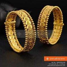 Matching bangles for Lakshmi Haar Gold Bangles Design, Gold Jewellery Design, Gold Jewelry, Jewelery, Kerala Jewellery, Temple Jewellery, Indian Jewelry, Maharashtrian Jewellery, Ring Verlobung
