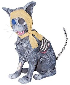 This Zombie Cat will scare your Halloween guests! Each Zombie Cat measures 13.4 inches wide x 12.2 inches high and is made of styrofoam and polyester.
