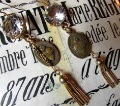 Antiique sacred heart earrings large crystal open back bezel metal tassel religious catholic one of a kind jewelry assemblage by madonnaenchanted on Etsy