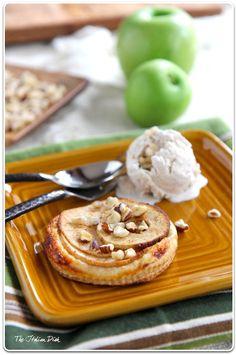apple cheddar tarts with cinnamon ice cream