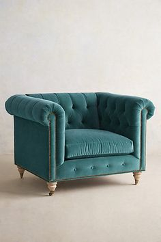 Velvet Lyre Chesterfield Armchair, Hickory -- love it in salmon and the Lyre sofa in same or blue Chesterfield Armchair, Tufted Sofa, Comfy Armchair, Take A Seat, Love Seat, Home Furniture, Furniture Design, Furniture Chairs, Home Accessories