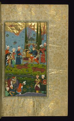 Bahram Gur Seizes the Crown After Having Killed Two Lions