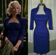 """I think this dress is from the movie """"How To Marry a Millionaire."""" Marilyn Monroe Outfits, Estilo Marilyn Monroe, Marylin Monroe, Cute Dresses, Vintage Dresses, Hollywood Costume, Gentlemen Prefer Blondes, Norma Jeane, Old Hollywood Glamour"""