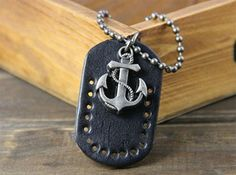 Men's Vintage Anchor Pendant Necklace,looback.looback.com. jewelry ,accessories, free shipping,