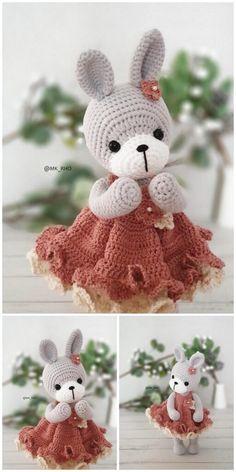 Easter Crochet, Crochet Bunny, Crochet For Kids, Free Crochet, Knit Crochet, Crochet Animal Patterns, Stuffed Animal Patterns, Crocheted Toys, Creative Crafts