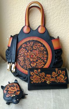 Leather tooled bag Khokhloma hands stamping painting by LeatherWorksRUS on Etsy . Leather t. Leather Carving, Leather Tooling, Leather Purses, Leather Handbags, Tooled Leather Purse, Leather Bracelets, Tote Handbags, Purses And Handbags, Russian Fashion
