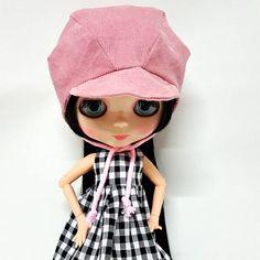 PEAKED BONNET HAT Old Rose for Blythe Pink Hoodie Helmet for