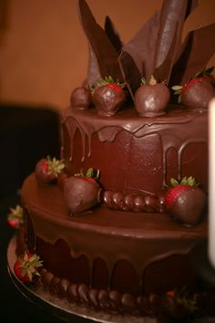 Chocolate covered strawberries... chocolate covered wedding cake!