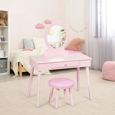 This pink vanity set is a perfect present for little girl. Kids Vanity Set, Vanity Set With Mirror, Toddler Vanity, Stools With Drawers, Large Drawers, Pink Dressing Tables, Pink Vanity, Girls Mirror, Mdf Frame