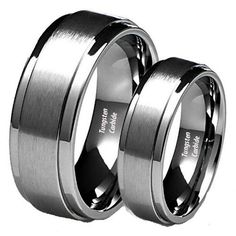 His & Her's 8MM/6MM Brushed Center Step Edge Tungsten Carbide Wedding Band Ring Set Ladies Size 8 - Mens Size 9