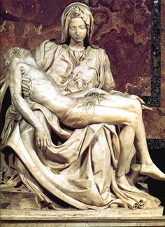 'Pietà', St Peters, Rome. 1499–1500. (s)   Michelangelo Buonarroti - what a contrast to the Bacchus, the god with the all too human defects! The Rome Pieta is an emotionally charged incarnation of a mother cradling her lifeless son. It is an almost universally loved portrayal of the Virgin and Christ.